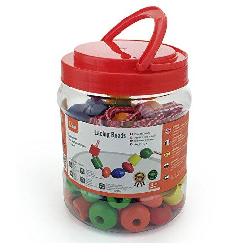 Viga Toys - 58304 - Perles En Bois - Bidon - 90 Pièces