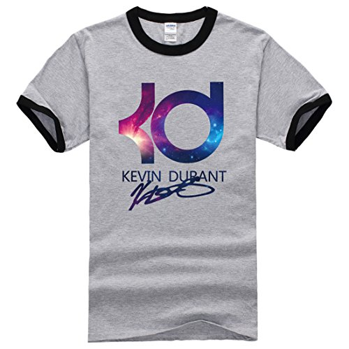 Men's Kevin Durant PrintedShort Sleeve Cotton Casual black gray