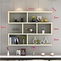Preisvergleich für Clothes UK- Kreative Wandhalterung Bücherregal Wohnzimmer Moderne Einfache Wand Bücherregal Schrank Wand Regale 100x80x15 cm Regal (Farbe : D)