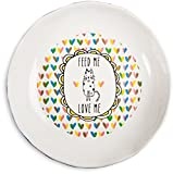 "Pavilion Gift Company It's Cats & Dogs-""Feed Me Love Me"" Shallow 2"" Tall Ceramic Cat Food and Water Dish, Navy Blue"