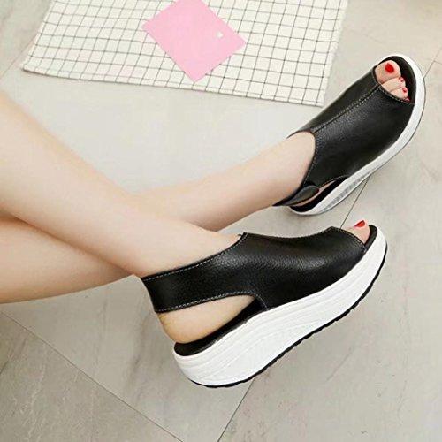 2017 Dicke untere Schuhe , Kaiki Mode Frauen schütteln Schuhe Sommer Sandalen dicken unteren High Heel Schuhe Black