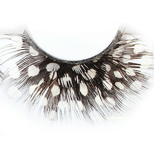 Lash & Co - Faux cils en plumes - - Pois blancs sur plume noire