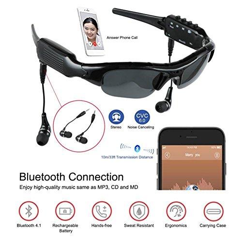 (BJESSENCE 1 PC Tragbare Kamera HD 1080P Sport Sonnenbrille Lochkamera Objektiv Camcorder Bluetooth 4.1 MP3 Player 5.0MP CMOS Objektiv Webcam Video Sprachaufnahme Kamera)