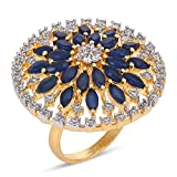 #3: Tistabene Retails Modern Style Floral Blue Colored Stones Cocktail Ring | Two Tone Plated Cocktail Ring | Designer Stylish Fancy Party Wear Adjustable Cocktail Finger Ring for Girls And Women (RI-0813)