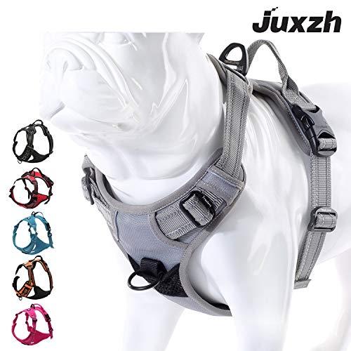 juxzh Soft vorne Hundegeschirr. Best Reflective Keine Pull Hundegeschirr mit Griff und Zwei Leine Aufsätze, X-Large, grau