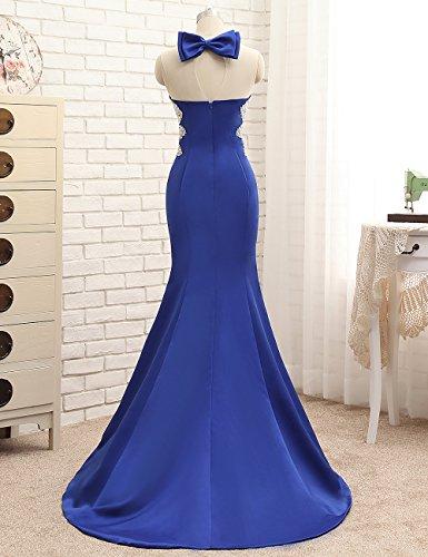 MicBridal® robe de soirée longue, robe de cocktail, robe bustier de soirée sirene robe paillette femme à col rond avec imitation strass,paillettes perlée Brun