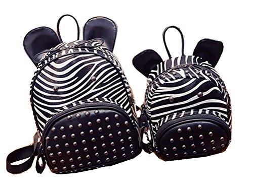 Schulter Zebra (Yan Show Damen Zebra-Muster Schulter Beutel Familien Niet Rucksack 2 Stücke Eingestellt)