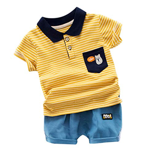 isex Schlafsack Strampler Kinder Kleinkind Kid Baby Boy Gentleman Streifen Tops T-Shirt Shorts Outfit Set Kleidung ODRD Mädchen Jungen Body Babyschlafsack Kleinkind Sommer ()