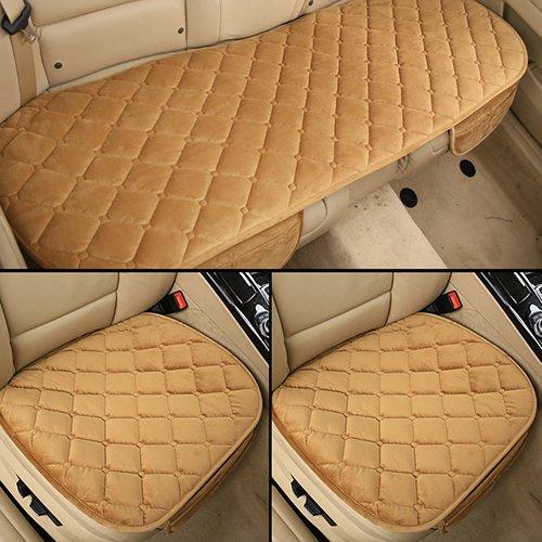 Sedeta® Automotive Interior Car Vehicle Front Rear Sitzbezüge Beschützer Set Cushion Mat Seidensamt Automotive Interieur Dekor für die Fahrerfamilie Stuhlabdeckung khaki