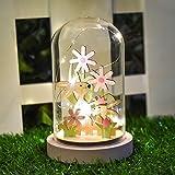 Valery Madelyn Ornamento Cupola di Vetro LED Pasqua 21cm con Coniglietto in Legno e Fiore per Decorazioni Primaverili e Regali-Rosa/Verde