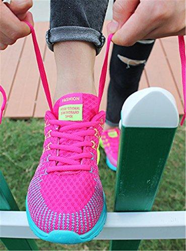 Wealsex Chaussures de Sport Course Fitness Compétition Entraînement Coloré En Mesh Respirante Légère Femme rose rouge