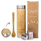 Botella Aislante Térmico con Colador de Té | Vireo Taza Térmica Taza de Bambú | Con Colador de Té y Tapa Botella de Acero Inoxidable | Eco Termo Máquina Fabricante de Té(500ml Botella)