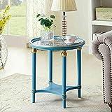 DEED Kleines Tisch-Haushalts-Sofa-Seiten-ausgeglichenes Glas-hölzernes rundes geschnitztes Kaffee-einfache Moderne Schlafzimmer-einfache Studien-Tabelle