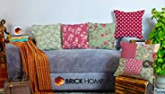 BRICK HOME Peachpatch Multicolor Printed Canvas Cotton Cushion Cover, 12X12 Inches, Set of 5