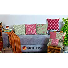 BRICK HOME Peachpatch Multicolor Printed Canvas Cotton Cushion Cover, 16X16 Inches, Set of 5