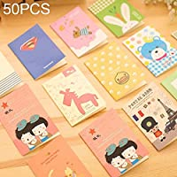 ZD-DZ Random Style Delivery, Sizing: 12 * 8.5cm, Pack of 50 Cartoon Pattern Memo Books Diary Book Notebook Ruled Notepads