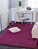 "A2Z Rug ( 70x140 cm (2ft5"" x 4ft6"") Purple ) Cozy Shag Collection Solid 5.5 cm Pile Shag Rug Contemporary Living & Bedroom Soft Shaggy Area Rug, Carpet"