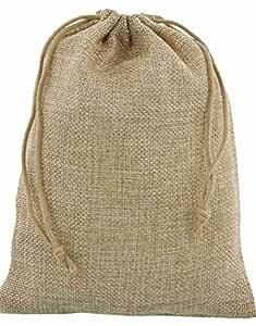 DMS RETAIL Jute Linen Burlap Potli Bag - Pack of 5 (23x17 cm, Large, Natural)