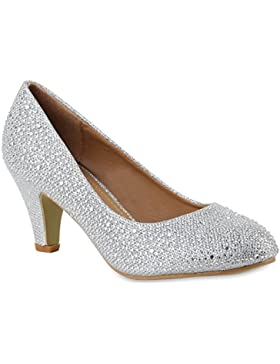 Klassische Damen Pumps | Strass Glitzer Party Schuhe | Metallic Stilettos | Absatzschuhe Abendschuhe Lack | Flandell®