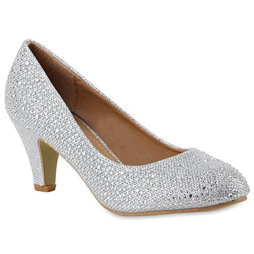 Klassische Damen Pumps Strass Glitzer Party Metallic Stilettos Absatz Abend Lack Schuhe 109197 Silber 40 Flandell