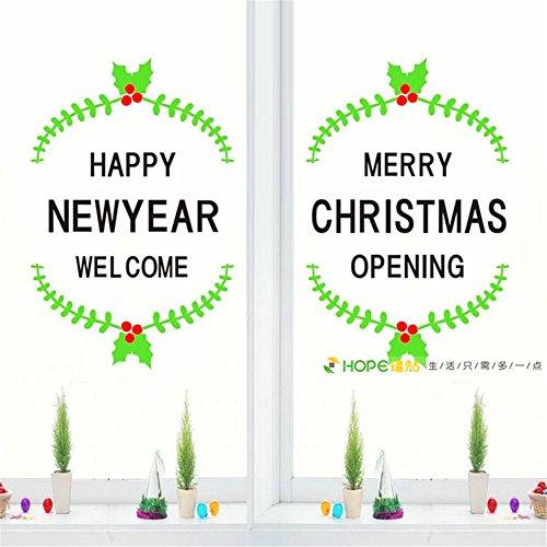 Doll Kostüme Ideen (DIY-Aufkleber neues Jahr Weihnachten Kostüme coffee shop Fenster Glas dekorative Tür Aufkleber Willkommen auf der Wand)