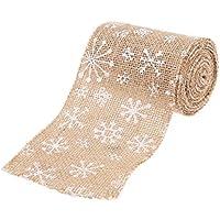 Pixnor Jute, Handwerk Band für die Handwerk Basteln Weihnachtsdekoration Hochzeit 3m 10cm–Style-Schneeflocke (braun + weiß)