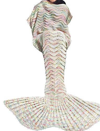 Meerjungfrau Schwanz Decke, Meerjungfrau Decke Erwachsene, netchain Meerjungfrau Schwanz Decke für Erwachsene und kidt, Häkelhund Kinder Meerjungfrau Schwanz für Mädchen, Super Weiches alle Jahreszeiten Decke Decken, Cremefarben, 71x35.5