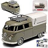 Wiking Volkwagen T1 Transporter Pritsche mit Plane Kundendienst Grau Bully Bus 1950-1967 H0 1/87 Modell Auto mit individiuellem Wunschkennzeichen
