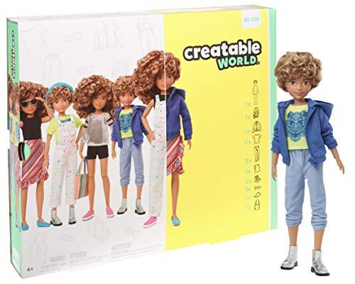 Creatable World Figura Unisex, muñeco articulado, pelucas con rizos y accesorios (Mattel GGG56)