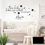 Wandtattoo Baby Geburt Spruch Zitat & Sterne Kinderzimmer Wanddeko Wandgestaltung mit Namen & Datum M2337 - ausgewählte Farbe: *schwarz* ausgewählte Größe: *L - 49cm hoch x 100cm breit *