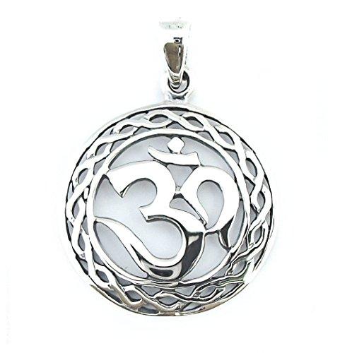 Ciondolo in Solido Argento Sterling 925, Pendente Om Mantra Indu Omkara (P050)