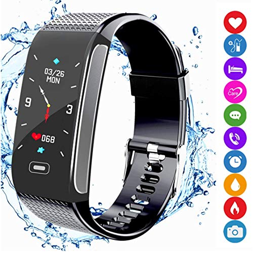 Fitness Tracker Smart Armband Sportuhr Aktivitätstracker Schrittzähler mit IP67 Wasserdichte Farbanzeige Pulsmesser Monitor SNS Anruf Erinnern Kompatibel mit Android IOS für Männer Frauen Kinder