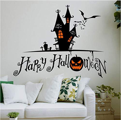 Happy Halloween Hexe Fledermäuse Wandaufkleber Nacht Stadt Kürbis Fenster Wohnkultur Aufkleber Kunst Decals Tapete Großhandel 42x58 cm