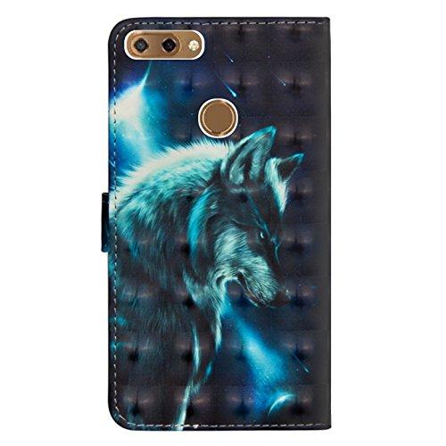 sinogoods Für ZTE Blade V9 Vita Hülle, Premium PU Leder Schutztasche Klappetui Brieftasche Handyhülle, Standfunktion Flip Wallet Case Cover - Wolf