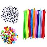 Pfeifenreiniger DIY Pfeifenreiniger Set Chenilledraht Biegeplüsch Gemischte Farben Pompons für Handwerkmachen und Hobbybedarf