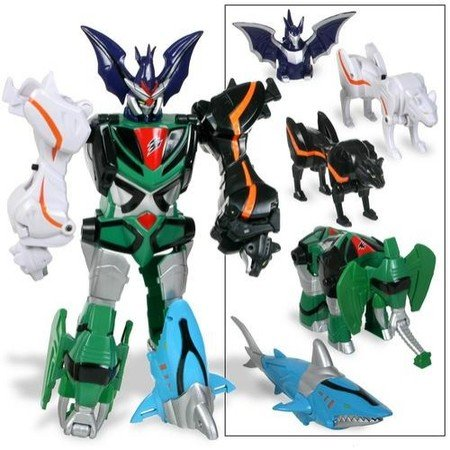 Power Rangers - JUNGLE FURY - TRANSFORMING BEAST MASTER MEGAZORD - 5 Zords Combination - Bat Zord & Puma Zord & Leopard Zord & Shark Zord & Elephant Zord - OVP