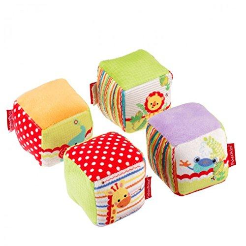 4tlg. Fisher-Price Würfel Set Babywürfel Spielwürfel mehrfarbig Stoff Motorik