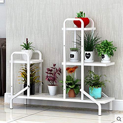 Scaffali porta piante fioriera in ferro battuto in metallo bianco nero minimalista tipo di pavimento soggiorno famiglia balcone fiore espositore cremagliera (colore : bianca)