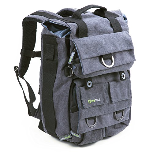 evecase-large-vintage-canvas-dslr-camera-backpack-w-laptop-compartment-and-rain-cover-grey-for-canon