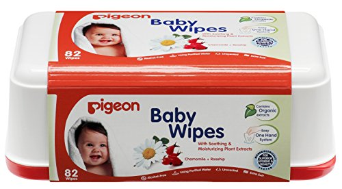 Pigeon Baby Wipes, Cham and Rose, Box (82 Sheets)