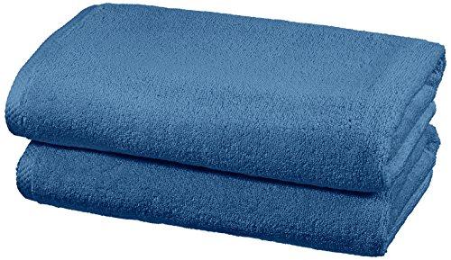 AmazonBasics - Handtuch-Set, schnelltrocknend, 2 Badetücher - Seeblau, 100% Baumwolle