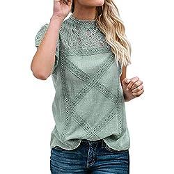 Camisetas Mujer SHOBDW Dia de la Mujer Verano Patchwork De Encaje Casual Ahuecar Volantes Manga Corta Suéter De Cuello De Tortuga Linda Blusa Floral Camiseta Blanca para Mujer (M, Verde)