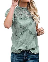 Encaje Tops de Mujer,Honestyi Camiseta de Cosiendo Casual T-Shirt de Suelto Blusa de Verano Camisa de Manga cortaChaleco Camisola Abrigo Sudadera con Capucha