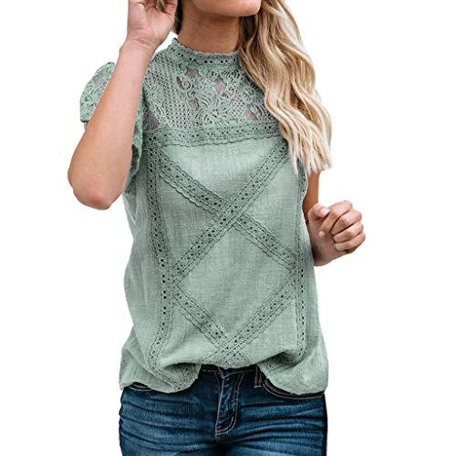 iHENGH Damen Sommer Top Bluse Bequem Lässig Mode T-Shirt Blusen Frauen Womens Lace Patchwork Flare Rüschen Kurzarm niedlichen Blumenhemd Bluse Top(Grün, S) Zebra Formale Kleider