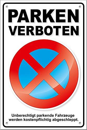 PREMIUM Parkverbotsschild Parken verboten PS04, inkl. Löcher + Schrauben Parkverbot Schild
