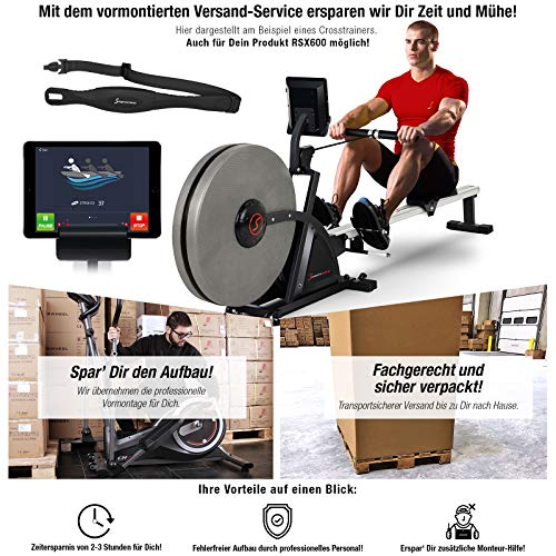 Sportstech 2in1 Profi Rudergerät mit 16 fachem Luft-und Magnetbremssystem, Smartphone App, 4 Puls-+ 12 Trainings-Programme, RSX600, Pulsgurt im Wert von 39,90 € inklusive, Wettkampfmodus, klappbar
