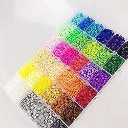 Juguetes para bebés 36 color de los granos DIY de Perler 12000 PC caja de fusibles conjunto de perlas de 5 mm Hama Beads (plantilla + 5 + 2 Papel del hierro Pinzas) Rompecabezas de bricolaje