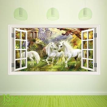 1Stop Graphics Shop - FAIRY TALE UNICORN WINDOW WALL STICKER FULL COLOUR - BOYS GIRLS WALL ART C388 - Size: Large