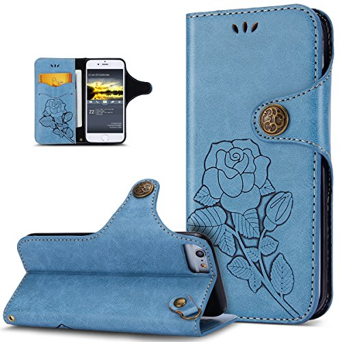 Custodia iPhone 8,Custodia iPhone 7,ikasus® Cover iPhone 8 / iPhone 7 Custodia [PU Leather] [Shock-Absorption] Protettiva Portafoglio Cover Custodia Con retro fibbia in pelle 3D rilievo in rilievo Ros Blu