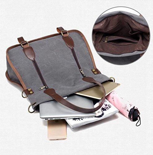 Lässige Kleidung Leinwand Handtaschen Big Bags Europa Mode Trends Schulter- Messenger Handtaschen Einkaufstasche Brown